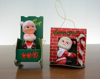 Mid Century Mr. and Mrs. Claus Christmas Ornaments