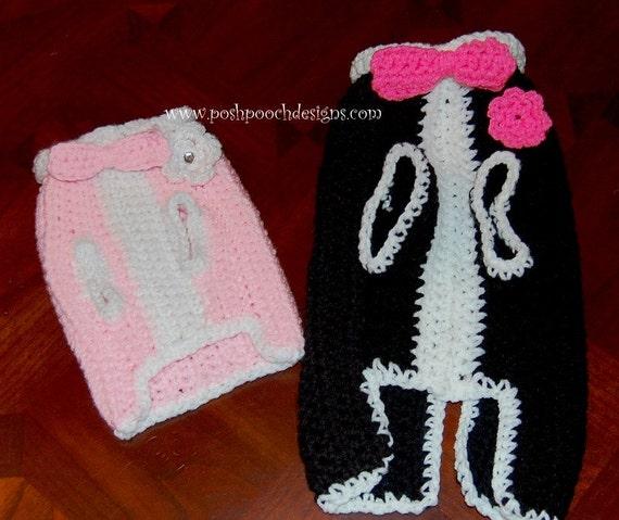 Knitting Pattern For Dogs Tuxedo : Instant Download Crochet Pattern - Tuxedo Dog Sweater - Small Dog Sweater 2-2...