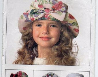 Seven Childrens Hats Size Small Medium Or Large Girls Or Boys Sewing Pattern 1993 Butterick 6614