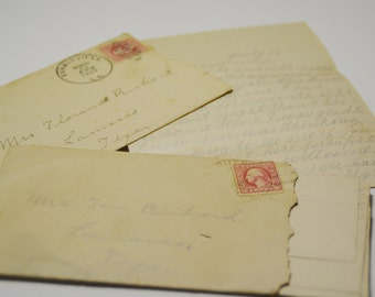 Paper Ephemera ~ Letters ~ 1920 ~ Farmville, LA ~ Texas ~ Correspondence