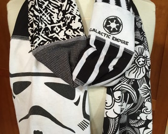 UPCYCLED t-shirt scarf... Star Wars... Storm Troopers... TK-421 ... Black & White