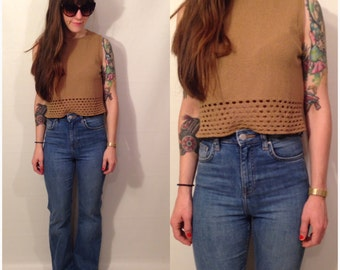Vintage 70s Brown Sleeveless Tank Top Woven Crop Shirt Blouse Size Small