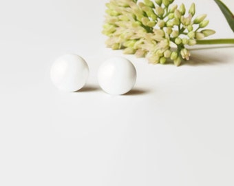 White Stud Earrings - White Studs