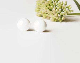 White Stud Earrings - White Studs