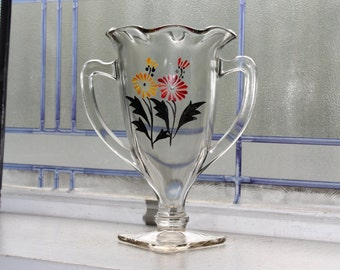 """Vintage Glass Loving Cup Trophy Cup 7"""" Vase with Hand Painted Flowers 1950s"""