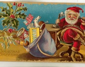 Vintage Christmas Postcard, Santa at Desk Talking on Telephone, ca 1910