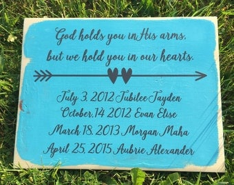 Stillborn, Infant Loss,  Miscarriage Remembrance, Wood Sign, God Holds you in His Arms, Baby Death, Memorial, Nursery, Decor, Hearts,
