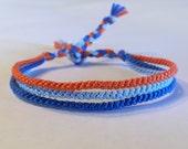 OKC Thunder - Orange, Light Blue, & Blue - Thin Friendship Bracelet