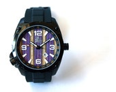 Recycled Skateboard Watch  - Wood Watch - Made in Canada - Purple Watch