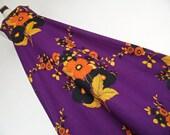 FINLAND Kaisu Heikkila . Nordic Flowers . S . Stunning 70s Op Art Print Maxi Dress Pure Cotton