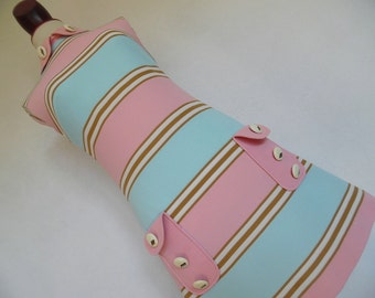 THE CANDY MOD . Adorable Space Age Twiggy Scooter Stewardess Modette Cute Buttons Mini Dress Pink Blue Stripes xs