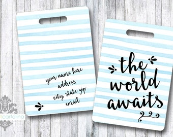 Personalized Bag/Luggage Tag - Monogram - the world awaits - quote luggage tag - custom