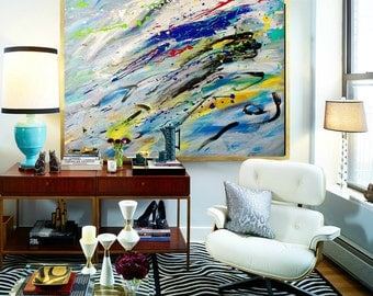 "Large abstract painting, Modern wall art, Expressionism paintings on canvas Art Original Artwork Bold colorful painting by Heroux 36""x48"""