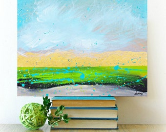 Acrylic Modern Abstract landscape Painting Contemporary Green gold Fine Art on Canvas by Heroux 16x20 canvas