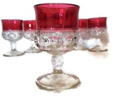 Ruby Flash Kings Crown Thumbprint Goblets, Indiana Glass