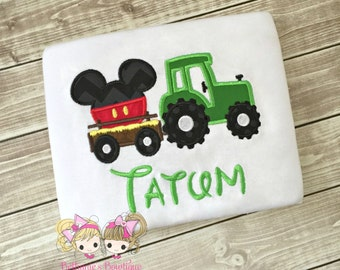Tractor hauling Mouse Ears- Green Tractor with Mouse- Custom birthday Shirt