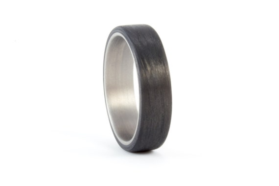 Men's titanium and carbon fiber ring. Modern and industrial black wedding band. Water resistant, very durable and hypoallergenic. (00310_6N)