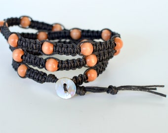 Knotted Wrap Bracelet with Wood Beads,  Black Waxed Cotton Cord, Shamballa Style, Other Wood Colors Available, Gift Boxed