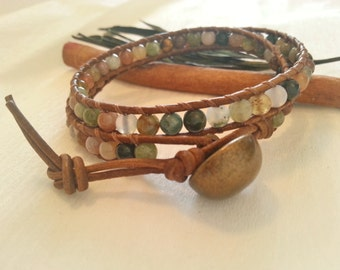 Double wrap multicolor  leather bracelet, Bohemian wrap bracelet agate stone, brown leather multicolor wrap bracelet