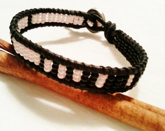 friendship wrap bracelet, black leather, pink, black, glass seed beads