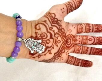 HAMSA PROTECTION BRACELET ,ethnic Turkish bracelet ,Middle Eastern jewelry , Moroccan protection bracelet ,Gypsy bracelet