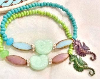 SALE -- SANTORINI NIGHTS -Bohemian Style -Beach Inspired Bracelets