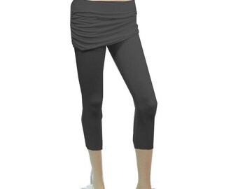 Womens Cropped Skirted Leggings - Yoga Cropped Pants - Choice of Ruched or Straight- Hand Dyed Organic Cotton/Bamboo Fabric - XXS to Large
