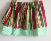 6 - 12 month Christmas Twirl Skirt : Christmas Dots and Stripes with a Green/White stripe accent