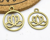 Flower Charms -25pcs of Antique Bronze Lotus Flower Charm Pendant 20mm H401-2