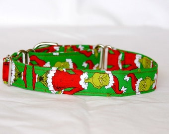 "1"" Small (whippet) Martingale Dog Collar The Grinch"