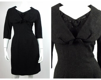 1950's Little Black Wiggle Dress // Portrait Collar Beaded Black Matelassé Dress // LBD //  Marilyn Monroe Wiggle Dress // Size 6