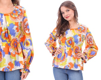 60s Hippie Blouse . Vintage Ethnic Shirt Tunic Top Cotton Boho 1960s Psychedelic Bell Sleeves Multicolor Festival Bohemian . Medium