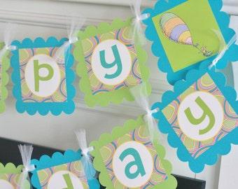 Happy Birthday Green Turquoise Blue Oh The Places You'll Go Story Inspired Banner - Cupcake Toppers, Favor Tags & Door Sign Available