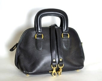 Vintage Black Leather Satchel Convertible Shoulder Bag