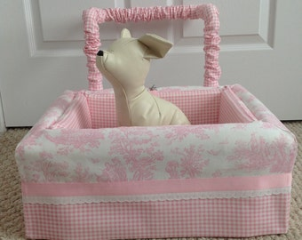 Dog Car Seat SMALL ***Ready Made  Pastel Pink and White  - girly toile and gingham *** by FancyFido