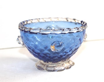 Murano sky blue aventurine quilted glass footed dish, round prunts. Venetian glass bowl. Salviati