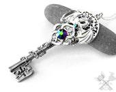 Glacier Dragon Necklace / Fantasy Jewelry / Dragon Jewelry / Dragon Pendant / Key to my Heart Necklace / Skeleton Key Necklace