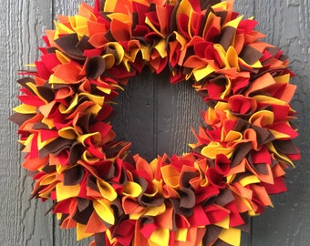 Fall Wreath - Multicolor Wreath - Felt Wreath - Rag Wreath - Large Wreath - Halloween Wreath - Thanksgiving Wreath - Rag Wreath