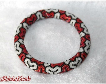 White, black and red rainbow bead crocheted bracelet Kimono - seed bead bangle - geometric pattern
