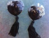 Black heart pasties sequin nipple covers tassel edc rave wear burlesque lingerie goth cute dancer bejeweled