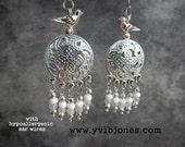 Silver Bird Flower Dangle Fashion Earrings Surgical Steel Ear Wires for Pierced Ears, Hypoallergenic Antiqued Ice Blue Boho Hippie Jewelry