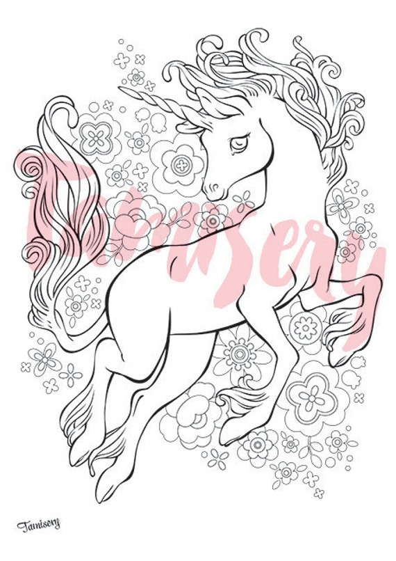 Joyful Unicorn  8.5x11 printable coloring page. Adult coloring pages