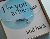 I love you to the moon bracelet, STERLING SILVER, heart charm, violet blue iolite gemstone bracelet, valentines day gift, gemstone bracelet