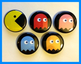 Pac Man and Ghost Magnet Set
