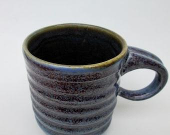 Handmade Wavy Porcelain Speckled Purple 12 oz. Mug