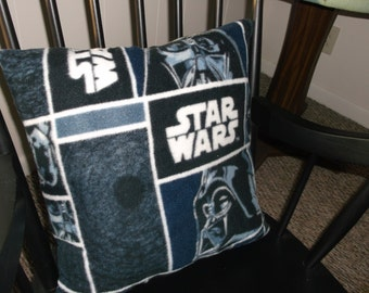 Star Wars Accent Pillow, Darth Vader Fleece Fabric 2 Sided Pillow, Midnight Blue, Black, White Children Or Teen Accent Pillow, Only 1 Avail.