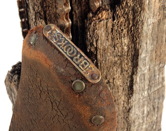 Assemblage Art, Reclaimed Brooks Bike Saddle / Bike Seat, Bike Chain, Weathered Wood on metal base