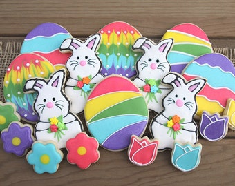 Easter Basket Gifts / Easter Egg Hunt Prizes / Easter Egg Favors / Easter Sugar Cookies / Bunny Rabbit and Egg Sugar Cookies - 19 cookies