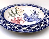Handmade Ceramic BIRDBATH for Garden, Yard - Scraffito Carved Rim, Bird & Flowers - Folk Art Style - Use Tabletop, on Deck or Patio