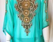 Aqua and Gold Embellished Sheer Caftan